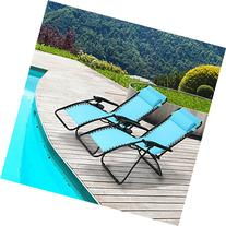 Ollieroo 2-Pack Blue Zero Gravity Lounge Chair with Pillow