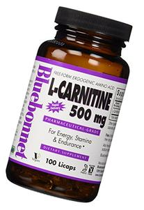 Bluebonnet L-Carnitine 500 mg Liquid Capsules, 100 Count