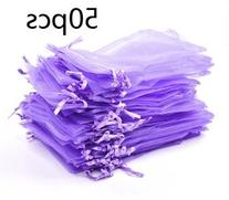Bluecell Pack of 50 Purple color Organza Drawstring Gift Bag