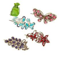 BMC Elegant 4pc Metal Alloy Butterfly Crystal Fashion Mixed