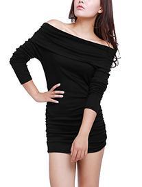 Allegra K Women Off Shoulder Side Shirred Slim Fit Clubwear