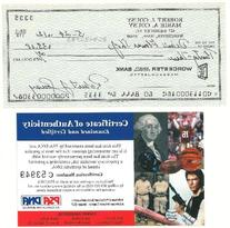 Bob Cousy Signed Authentic Autographed Check 1982