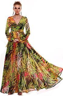 ACEVOG Womens Bohemian Floral Print Chiffon Long Maxi Beach