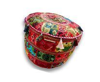 Bohemian Patch Work Pouf Ottoman,traditional Vintage Indian