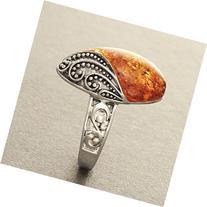 Boho Amber Ring - Amber Silver Boho Ring Filigree - Gypsy