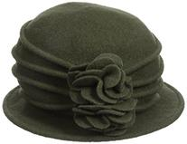 Scala Women's Boiled Wool Cloche with Rosettes, Olive, One