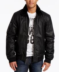 Armani Jeans Men's Bomber Jacket with Faux Fur Collar