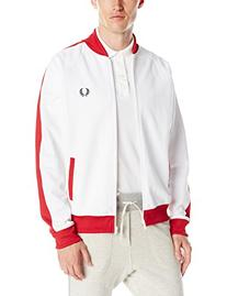 Fred Perry Men's Bomber Track Jacket, White, Large