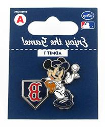 MLB Boston Red Sox Disney Pin - Mickey Leaning on Home Base