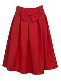 Persun Women Bowknot Waist Midi Skater Skirt, Red, Large