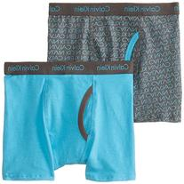 Calvin Klein Big Boys' Assorted 2 Pack Boxer Briefs, Blue/