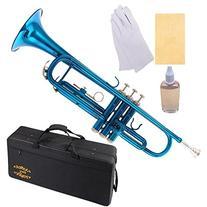 Glory Brass Bb Trumpet with Pro Case +Care Kit, Sea Blue,