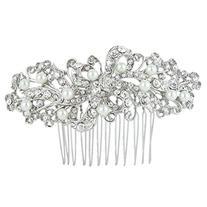 EVER FAITH® Bridal Silver-Tone Flower Cream Simulated Pearl