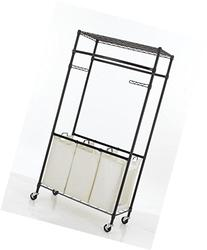 New Bronze 2-Tier Rolling Clothing Garment Rack Shelving