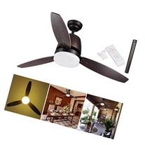 Bronze Ceiling Fan 3 Maple Blade w/ Dimmable LED Light & Remote Control Home Decoration 42/52 Opt