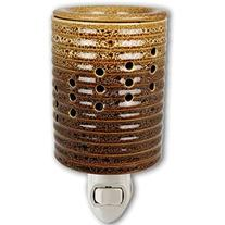 Brown Column Design Ceramic Stoneware Plug-in Outlet Wax and