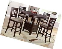 Poundex F2345 & F1205 Brown Finish W/Beige Fabric Counter