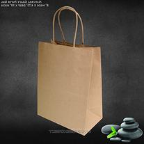 "8""x4.75""x10"" 50 pcs Brown Kraft Paper Bags Shopping"