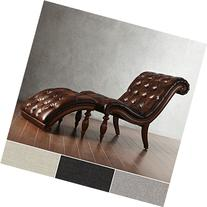 Brown Leather Chaise Lounge Chair with Ottoman - Victorian