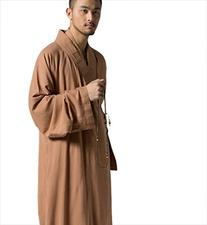 Katuo Brown Men's Long Gown Traditional Buddhist Meditation