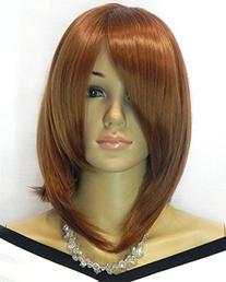 Diy Women's Medium Size Brown Color Oblique Bangs Heat-