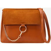 Brown Ring Chain Accent Faux Suede Flap Bag