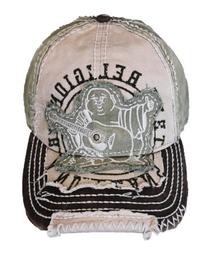 New True Religion Unisex Buddha Distressed Grass Trucket Hat