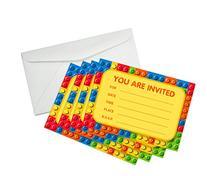 Building Blocks Birthday Party Invitations  &  White Paper