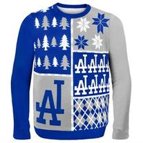 Los Angeles Dodgers - Busy Block Ugly Christmas Sweater - L