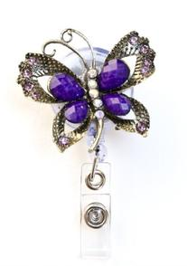 Sizzle City Butterfly Brooch Rhinestone Retractable Badge