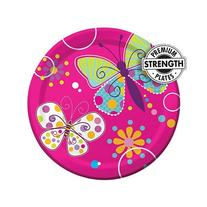 Creative Converting Butterfly Sparkle Round Dessert Plates,