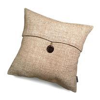 Set of 2 Phantoscope Button Beige Linen Decorative Throw