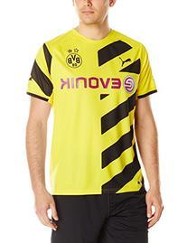 Puma Men's BVB Home Replica Shirt, Large, Cyber Yellow-Black