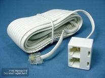 Leviton C2427-25W 25-Foot Phone Line Dual Extension Cord,