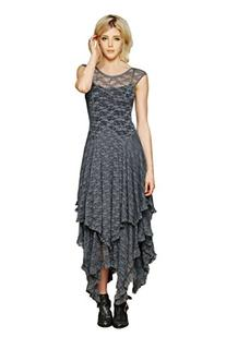 CA Fashion Women's Sleeveless Floral Lace Tiered Long