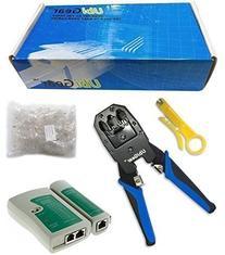 UbiGear Cable Tester +Crimp Crimper +100 RJ45 CAT5 CAT5e
