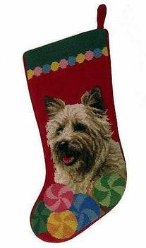 Cairn Terrier Christmas Stocking 100% Wool Hand-Stiched