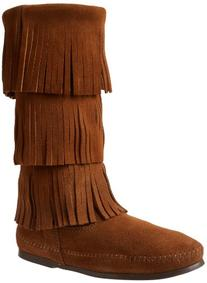 Minnetonka Women's Calf Hi 3-Layer Fringe Boot,Dusty Brown,8