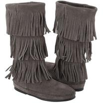 Minnetonka Calf Hi 3-Layer Fringe Boot  Women's Pull-on