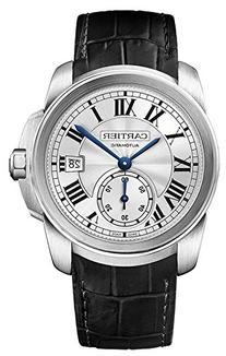 Cartier Calibre de Cartier Silver Dial Black Leather Mens