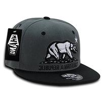 WHANG California Republic Snapbacks, Charcoal/Black