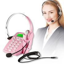 AGPtek Call Center Dialpad Corded Headset Pink Telephone