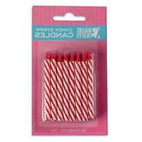 Oasis Supply Candy Stripe Birthday Candles, 2.5-Inch, Red