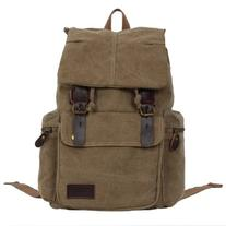 Coavas Canvas Casual Leather Hiking Travel Backpack Outdoor