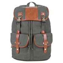 Canvas Leather Backpack Mens/Womens Rucksack for Casual