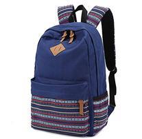 Blue Canvas School Bag Casual Daypack, Rbenxia Girls