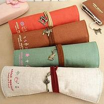 Canvas Wrap Roll Up Stationery Pen Brushes Makeup Pencil
