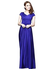 Medeshe Women's Blue Cap Sleeves Bridesmaid Dress Long