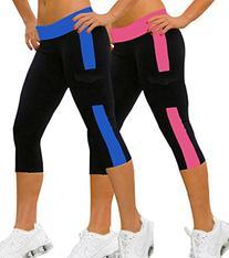iLoveSIA 2PACK Women's Capri YOGA Running Pants Leggings