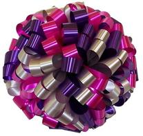 """Large Car Bow - 24"""" - Silver Hot Pink & Purple"""